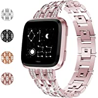 Fundro Compatible for Fitbit Versa Band, Bling Stainless Steel Metal Bracelet Replacement Band Wristband Accessories Strap with Rhinestones for Women