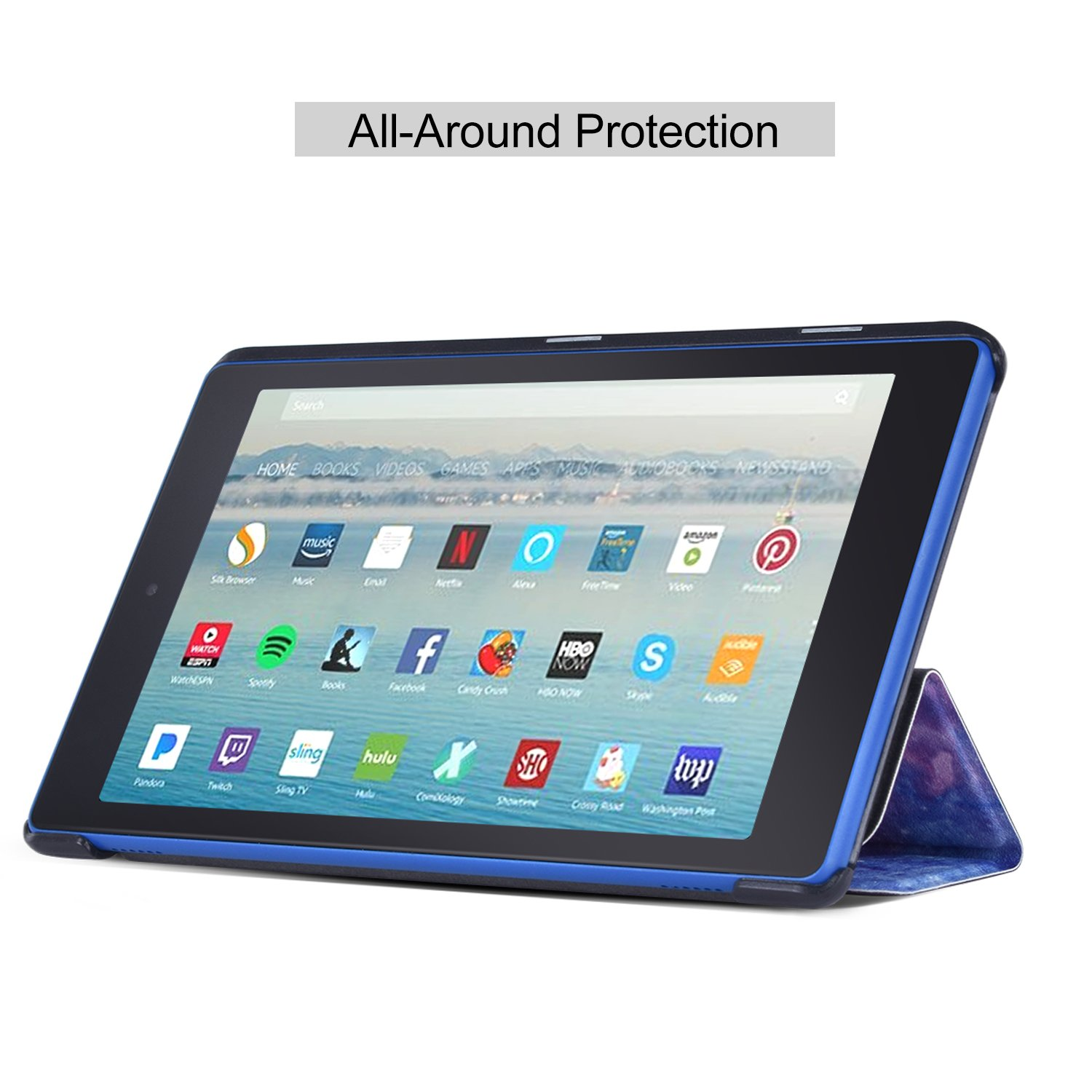 Dopup Fire HD 8 Case Tablet(7th Generation,2017 Release) Stand Protective Smart Cover with Auto Sleep/Wake(Blue Galaxy)
