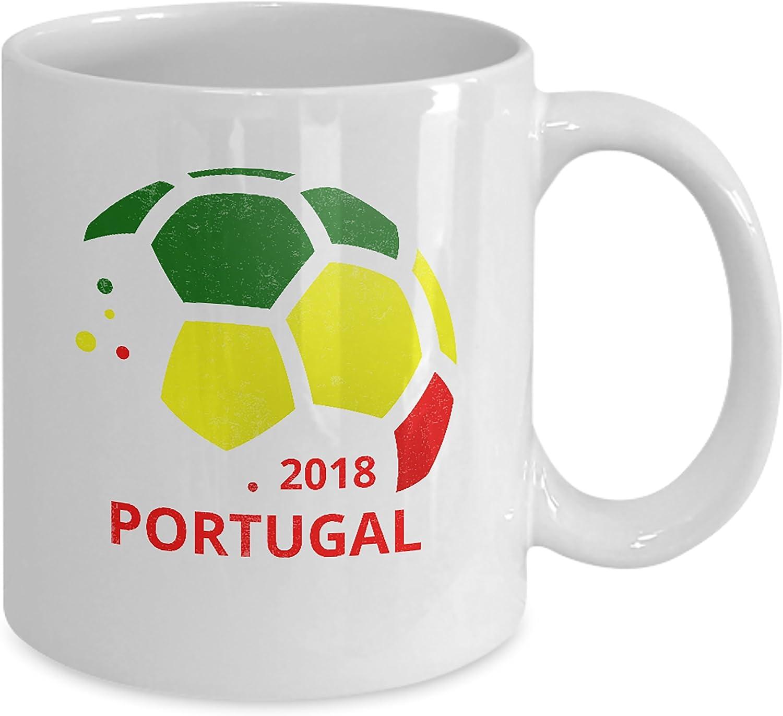 Taza de cerámica para té con diseño del equipo de fútbol portugués, 325 ml, color blanco World Soccer Futbol - Bandera de Portugal, diseño de orgullo