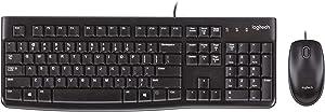 Logitech Desktop MK120 Durable, Comfortable, USB Mouse and keyboard Combo (Renewed)