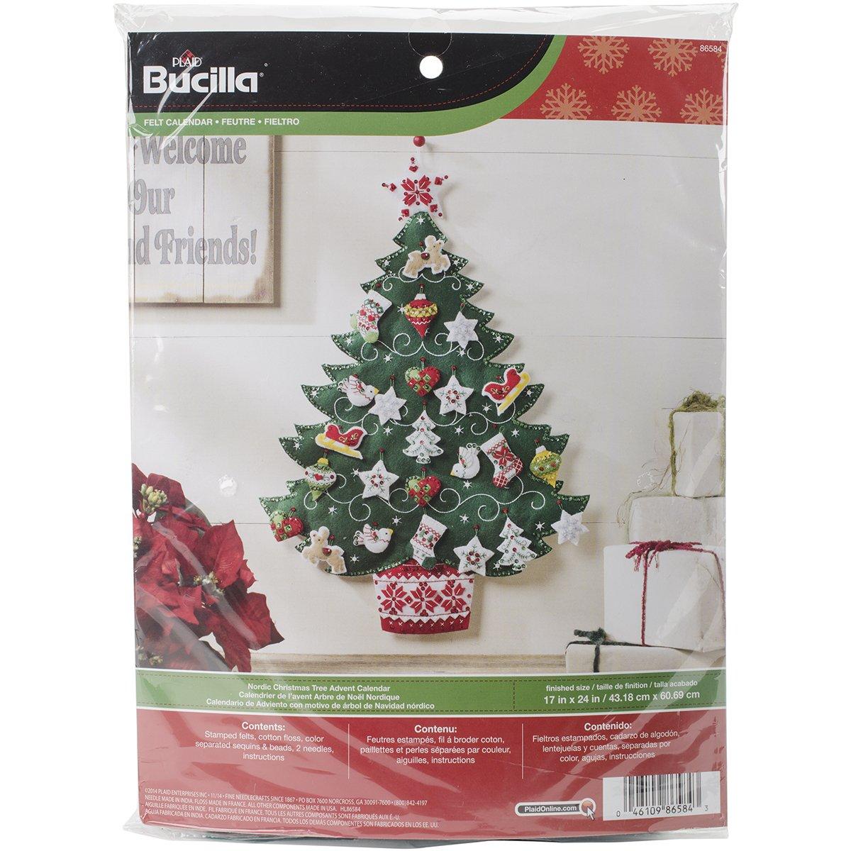 Bucilla Felt Applique Advent Calendar Kit, 17 by 24-Inch, 86584 Nordic Tree