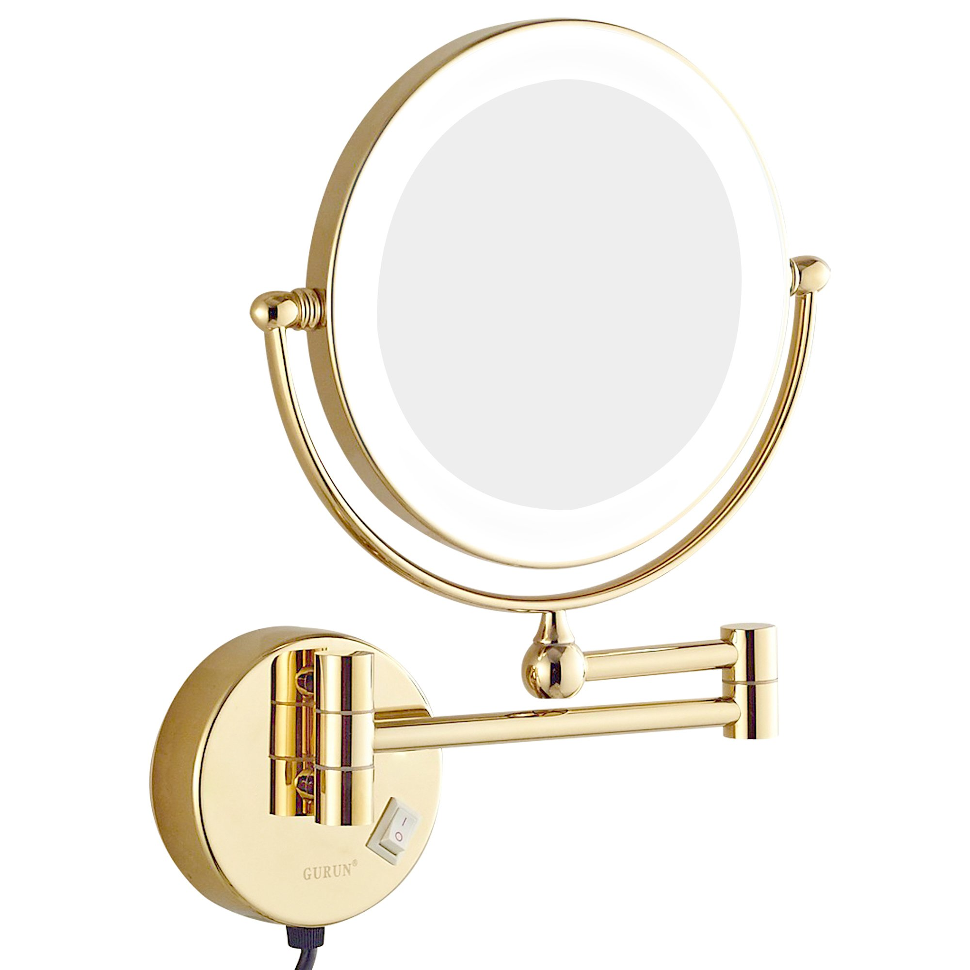 GURUN 8.5 Inch LED Lighted Wall Mount Makeup Mirrors with 7x Magnification,Gold M1805DJ(8.5in,7x)