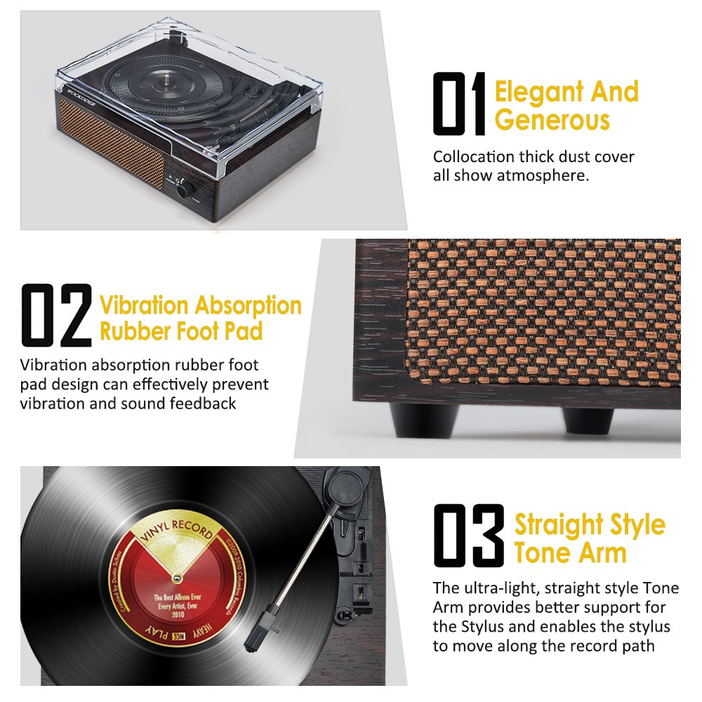 Record Player Portable Wireless LP Belt-Drive 3-Speed Turntable with Built in Stereo Speakers, Vintage Style Vinyl Record Player (Vintage Style-Brown) by WOCKODER (Image #6)