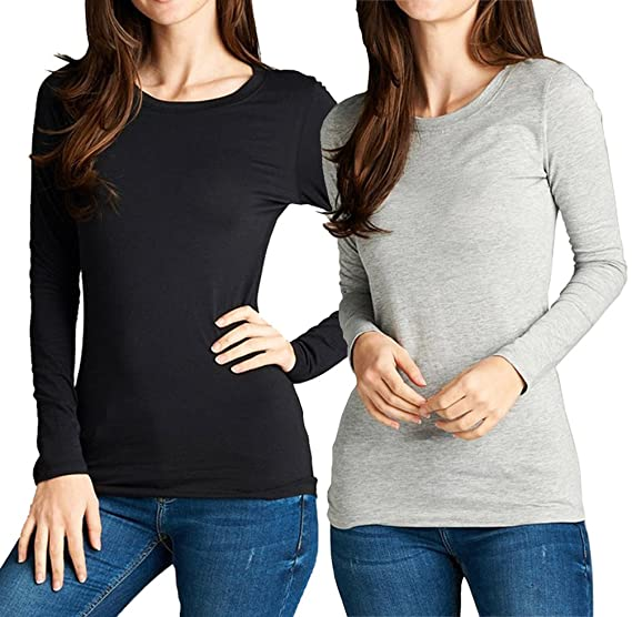 e04ff4ba7f12 Athletic Fitted Plain Long Sleeves Round Crew Neck T Shirt Top 2pk (Small,  Black