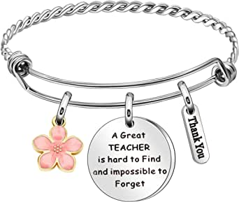 JQFEN Teacher Gifts Teacher Bracelet Jewelry for Women Thank You Gifts for Her Teachers Day Persent