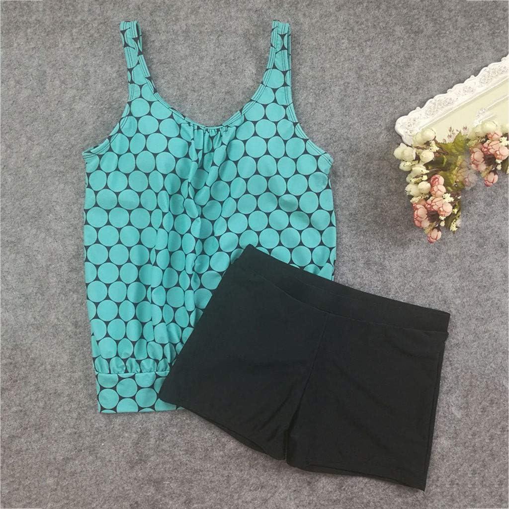 Yamasaki Women Conservative Dots Tankini Bikini Vest with Boxer Shorts Swimjupmsuit Swimsuit Beachwear Padded Swimwear