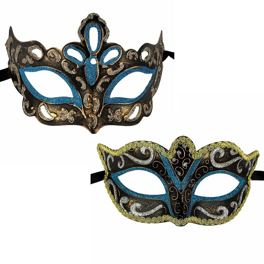 Xvevina Masquerade Mask for Couples Venetian Mask (Vinatge Couples Turquoise)