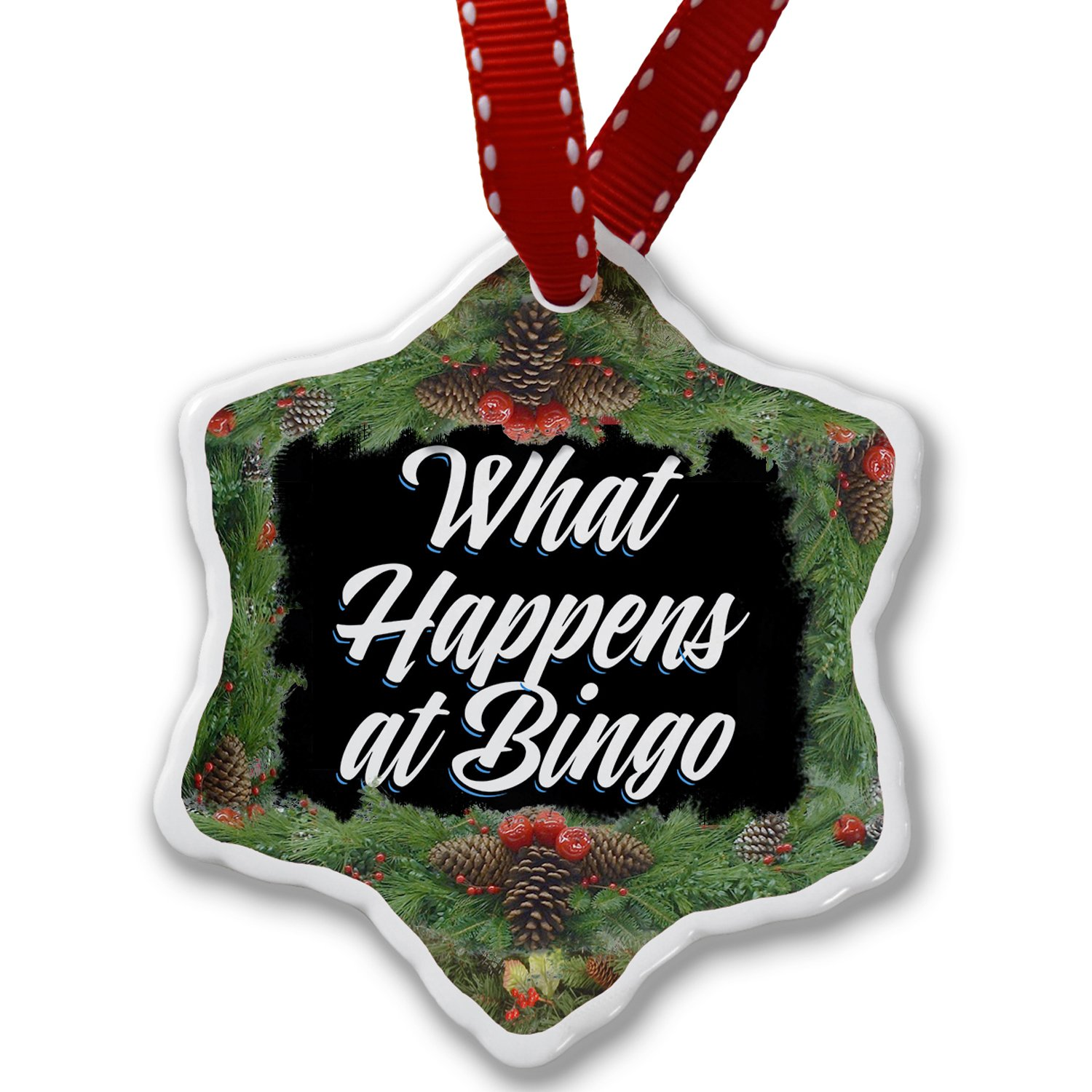 Christmas Ornament Classic design What Happens at Bingo - Neonblond