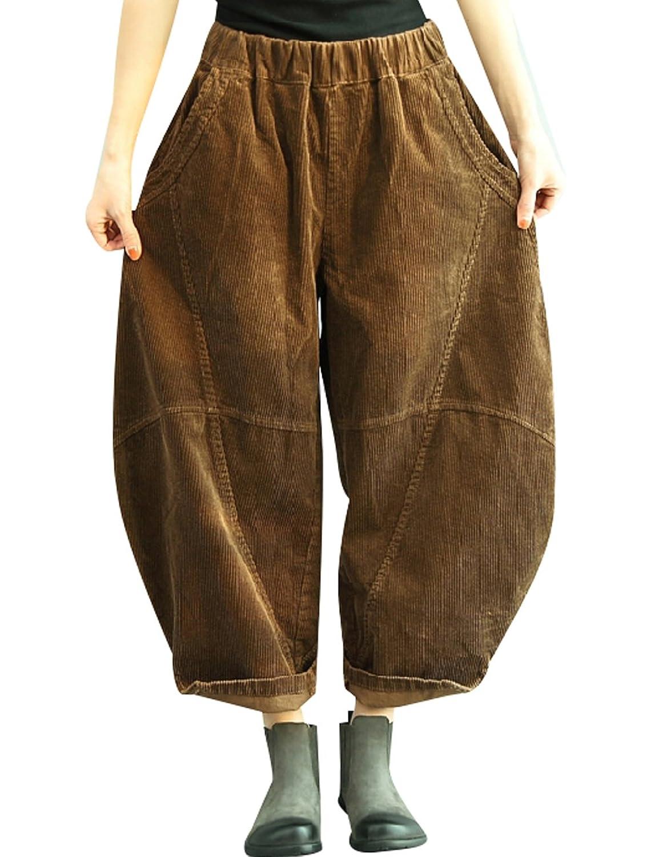 621d905c4c Youlee Mujeres Invierno Otoño Cintura elástica Linternas Pantalones  Pantalones de pana ...