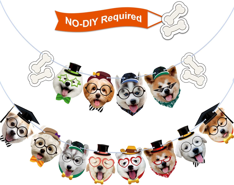 Dog Birthday Banner Puppy Dog Birthday Garland Dog Theme Party Bunting Decoration Baby Shower Party Supplies (Puppy, 14 Pieces)