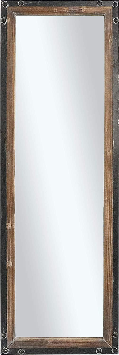 "Barnyard Designs Decorative Floor or Wall Hanging Mirror, Rustic Vintage Farmhouse Distressed Wood and Metal Mirror Wall Decor, 48"" x 16"""