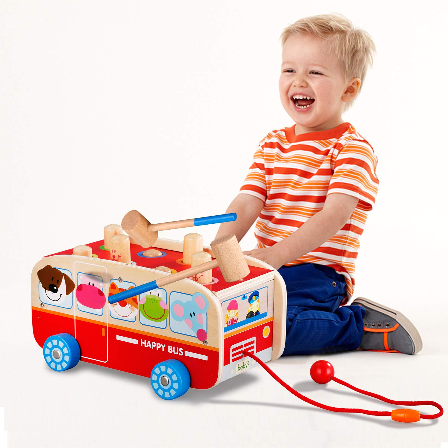 Tohibee Toddler Toys Pounding Bus Wooden Toy Early Educational Development for Toddlers Preschool Kids
