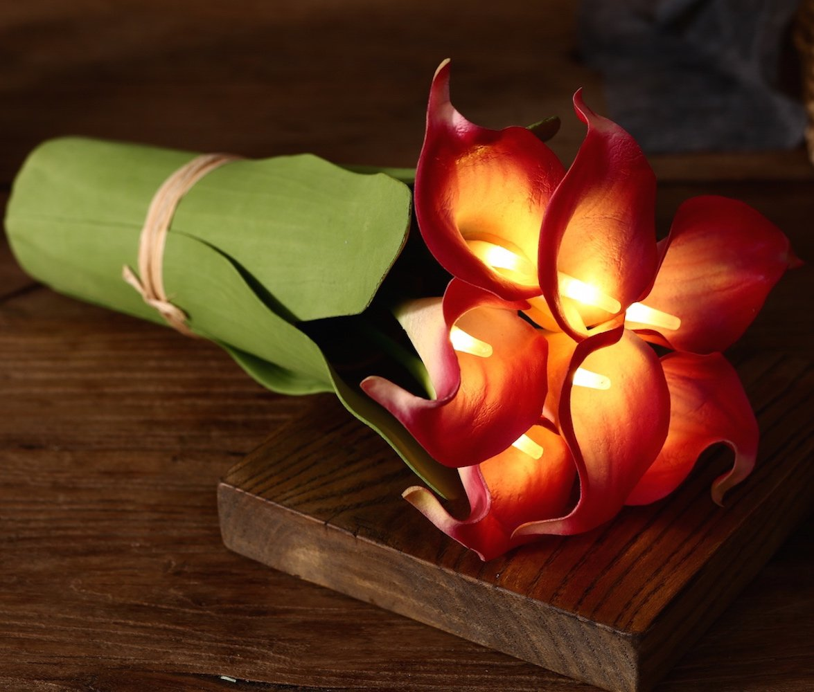 Homeseasons-LED-Lighted-Artificial-Flower-Calla-Lily-Arrangement-Battery-Operated-7-Heads-Calla-Lily-Light-with-Green-Leaves