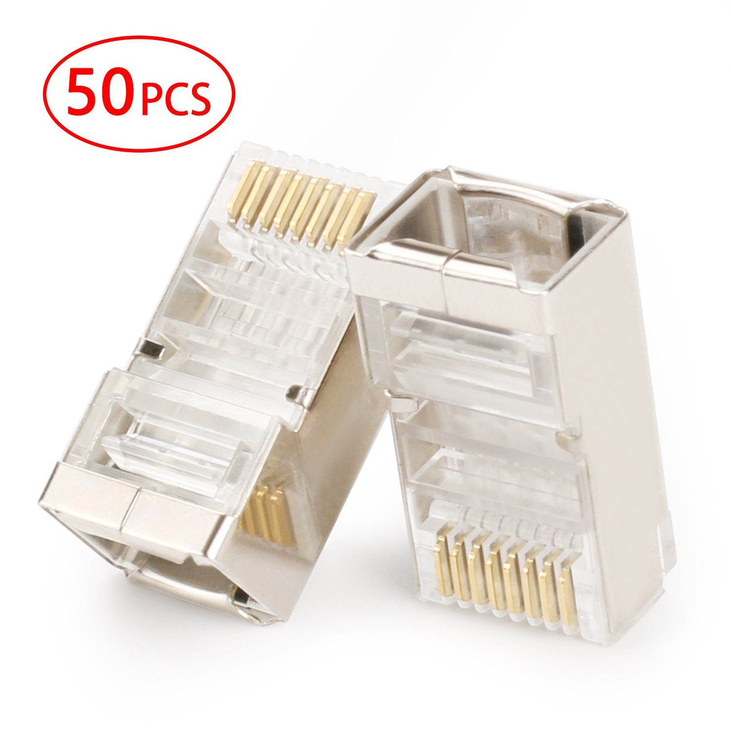 Postta Shielded Rj45 Cat5e Cat6 Crimp Connector 8p8c Stp Wiring Diagram For Gold Plated Ethernet Network Cable Plug 50 Pieces Home Audio Theater