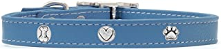 product image for Rockin Doggie Bone/Heart/Paw Leather Rivet Dog Collar, 1 by 16-Inch, Blue