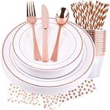 M-Aimee 25 Guests Rose gold Dinnerware Set and Disposable Plastic Silverware Ring Design Plastic Tableware Dinner Plates…