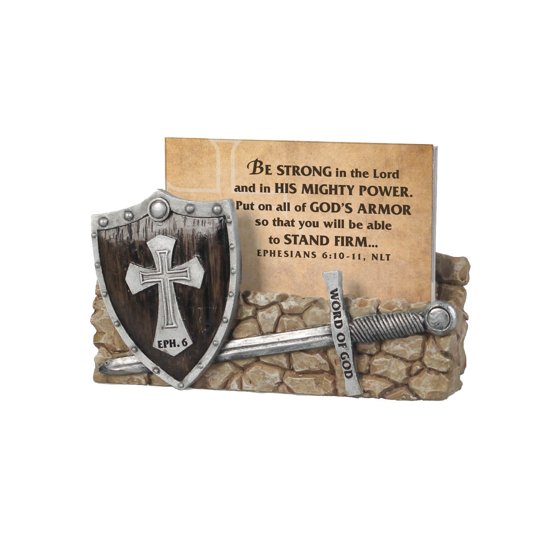 Lighthouse Christian Products Word of God Armor of Godwit 30 Cards Scripture Card Holder, 3 1/2 x 4 1/2 x 1''