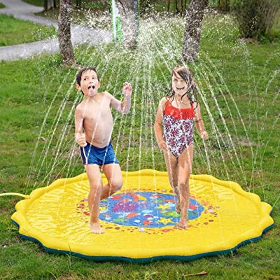 gonikm Sprinklers Splash Water Play mat for Kids Portable Outdoor Inflatable Water Spray Play Mat Children Play Mat Beach Summer Water Toy for Kids Babies and Toddlers: Toys & Games