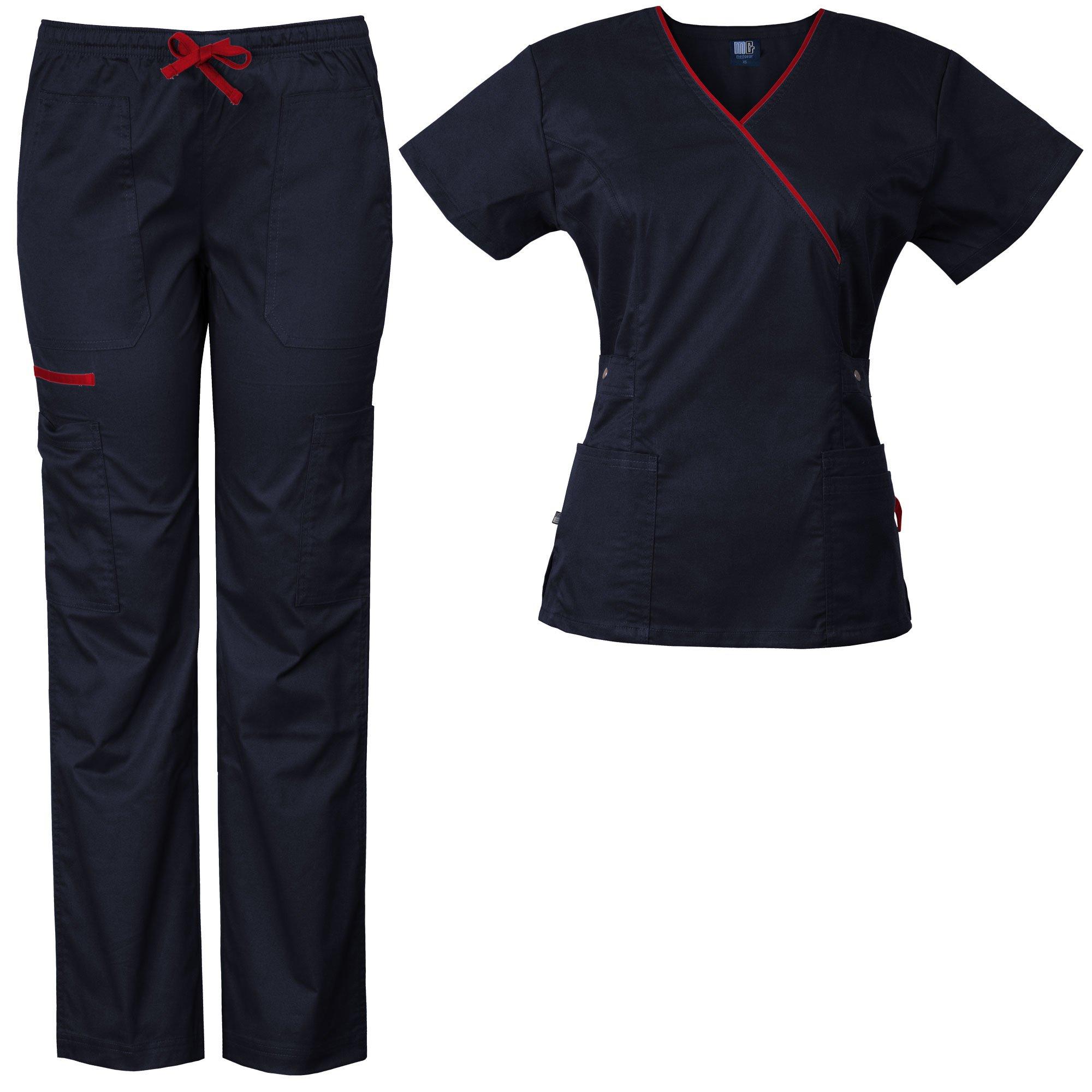 Medgear Women's Stretch Scrubs Set 5-Pocket Top & Multi-Pocket Pants (M, Midnight Blue)