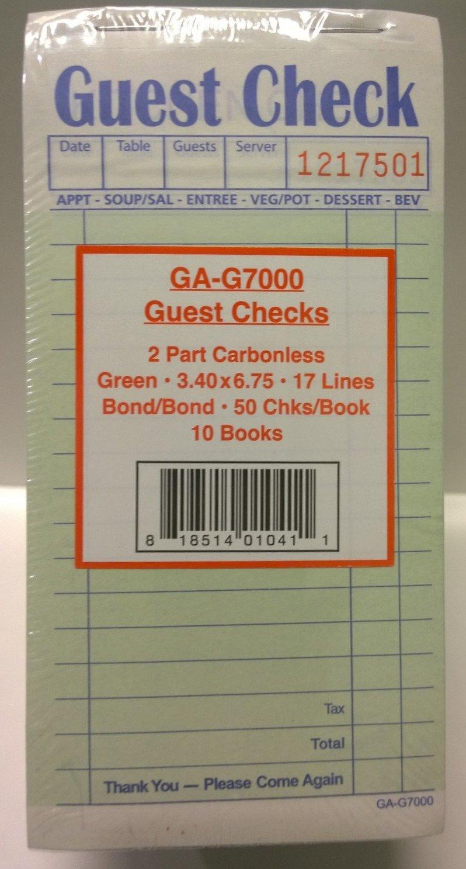 Carbon-less Guest Checks, 2 Part, Green, GA-G7000