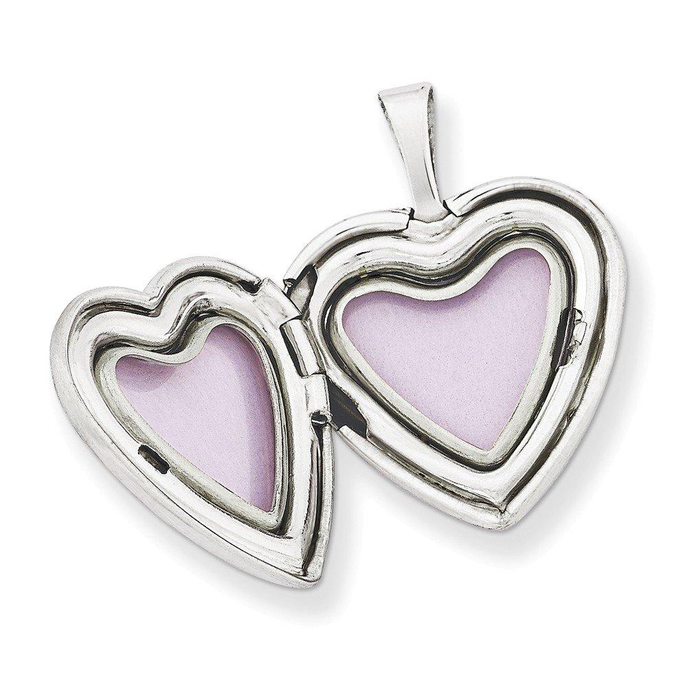 Sonia Jewels Sterling Silver 16mm Diamond-Cut Footprints Heart Locket