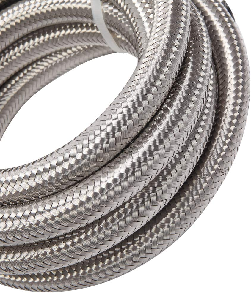 10 Feet 8AN AN8 1//2 Fuel Line Hose Braided Stainless Steel Oil Gas Fuel Hose CPE Synthetic Rubber Line Silver