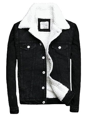 7a035d00a670 Denim Jackets Trendy XU Winter Black Slim Fit Fleece Fur Jean Coat For Men  (S