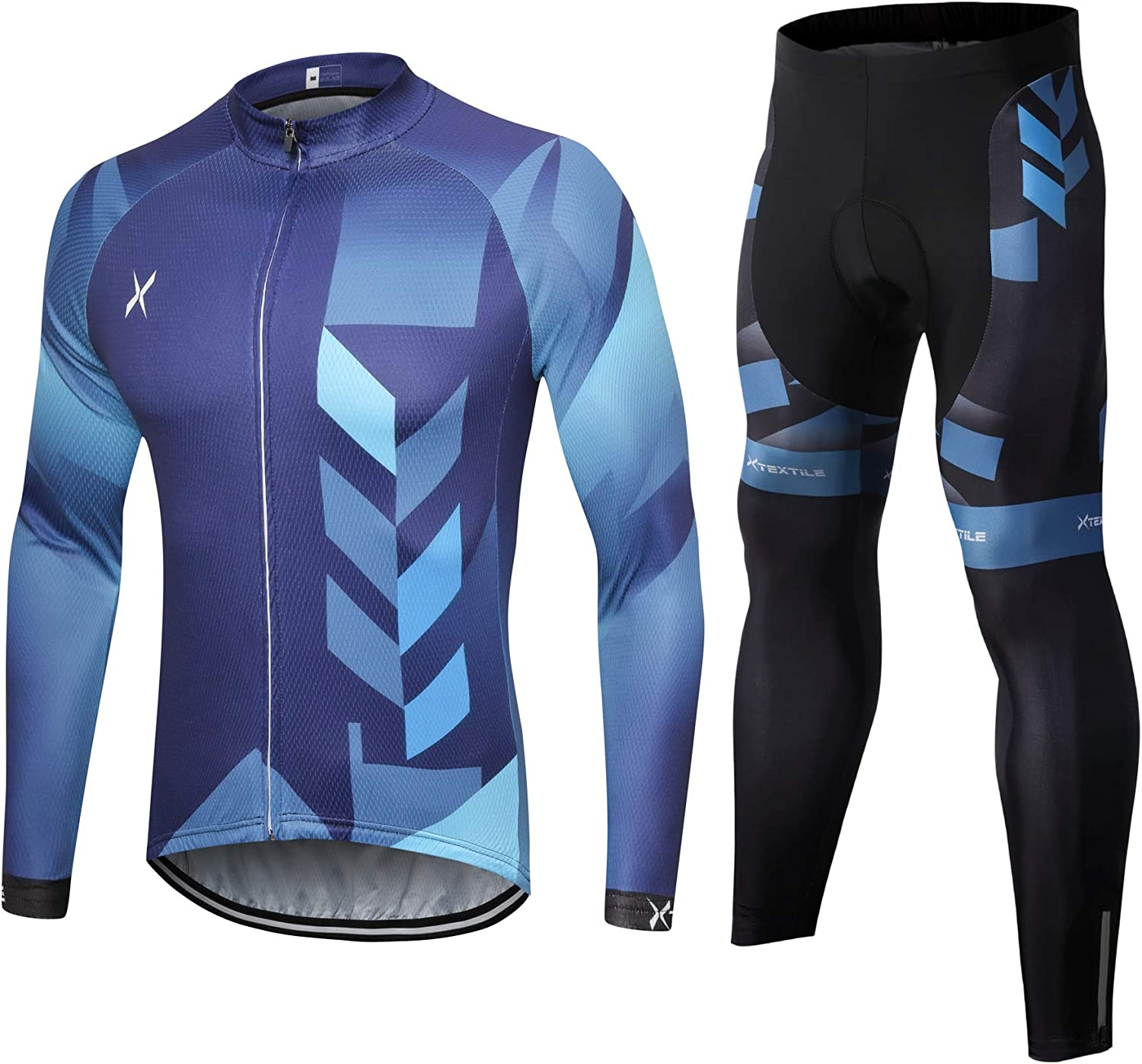 Xtextile Men's Cycling Jersey Set with Full Zipper Long Sleeves Bicycle Shirt and 4D Coolmax Padded Cycling Tights Leggings: Clothing