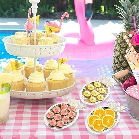 ... diseño de piña de color dorado, para fiestas, fiestas hawaianas, platos de papel con patrón de frutas, para barbacoa de selva tropical y fiestas de ...