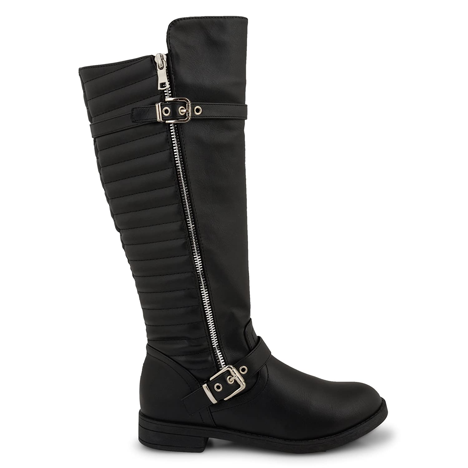 64c509a2071 Womens Ladies Low Flat Heel Knee High Wide Calf Elasticated Stretch Boots  Black Zipped Buckle Shoe Size UK 3 9  Amazon.co.uk  Shoes   Bags