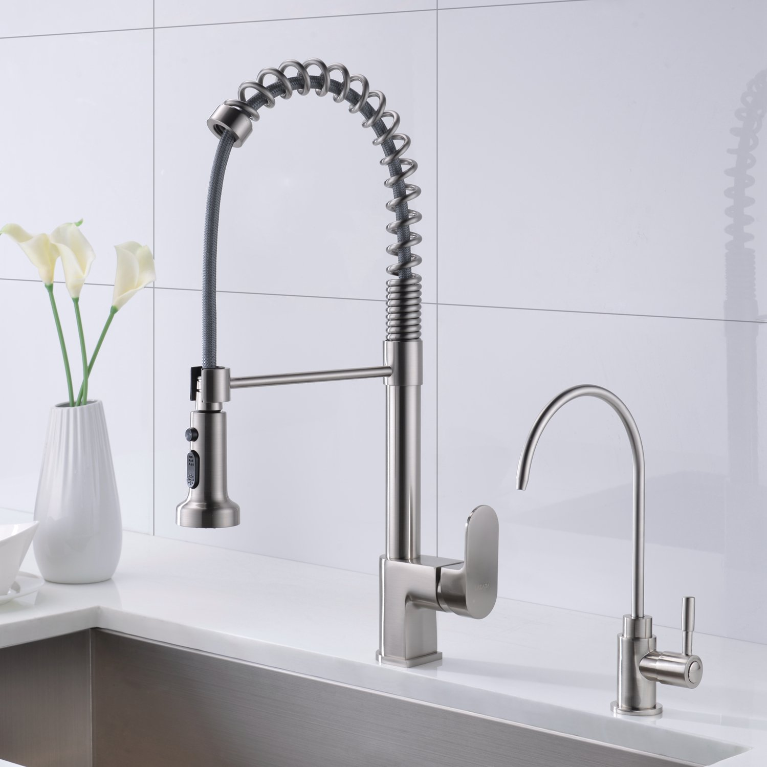 Drinking Water Faucet,LAZADA Upgrade Solid Brass Single Handle Brushed Nickel Water Filtration Faucet