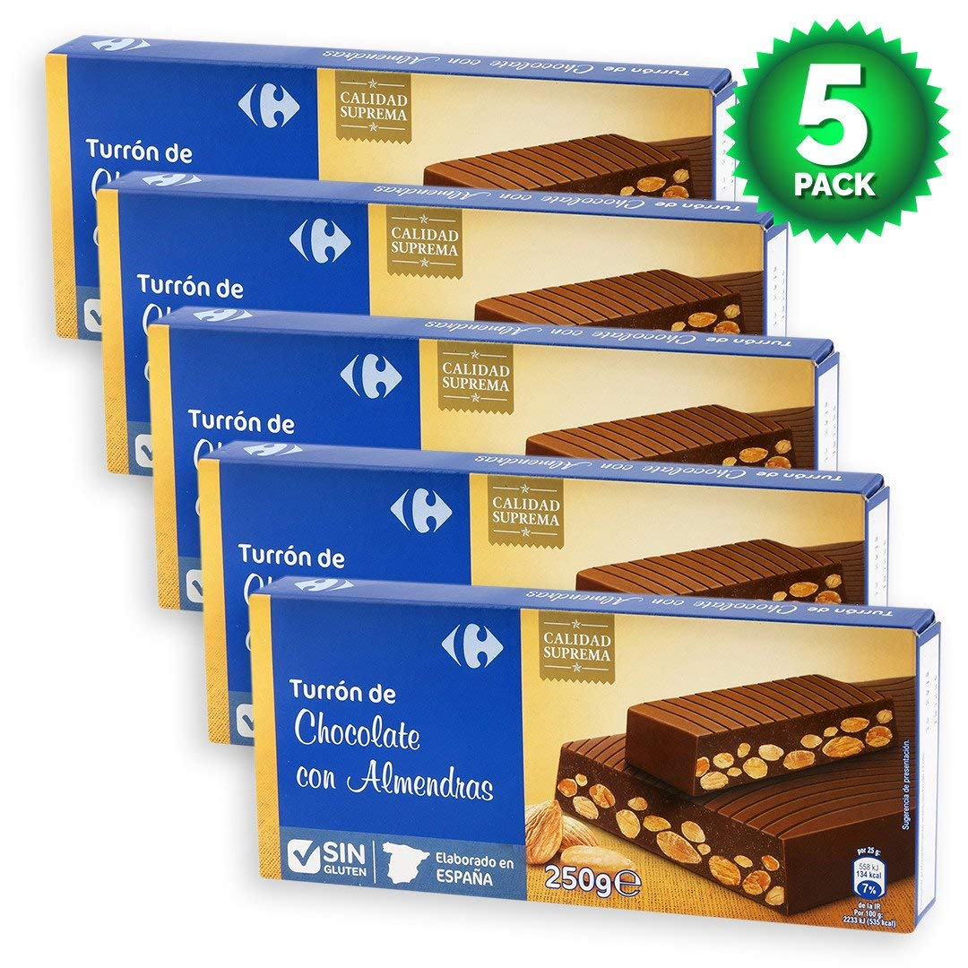 Amazon.com : 5 Pack Carrefour Milk Chocolate with Almonds Spanish Nougat 250g - Made In Spain - Supreme Quality - Sweet Chocolate with Almonds & Hazelnuts ...
