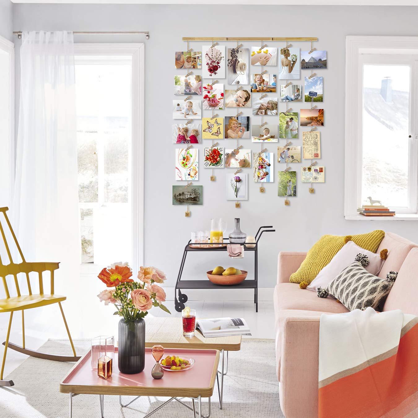 Love-KANKEI MEMORY Cadre Photo Mural Avec Corde Porte-Photos Avec 30 Petites Pinces Couleur de Bois Naturel Belle D/écoration de la Maison Cadeau Mariage et Anniversaire