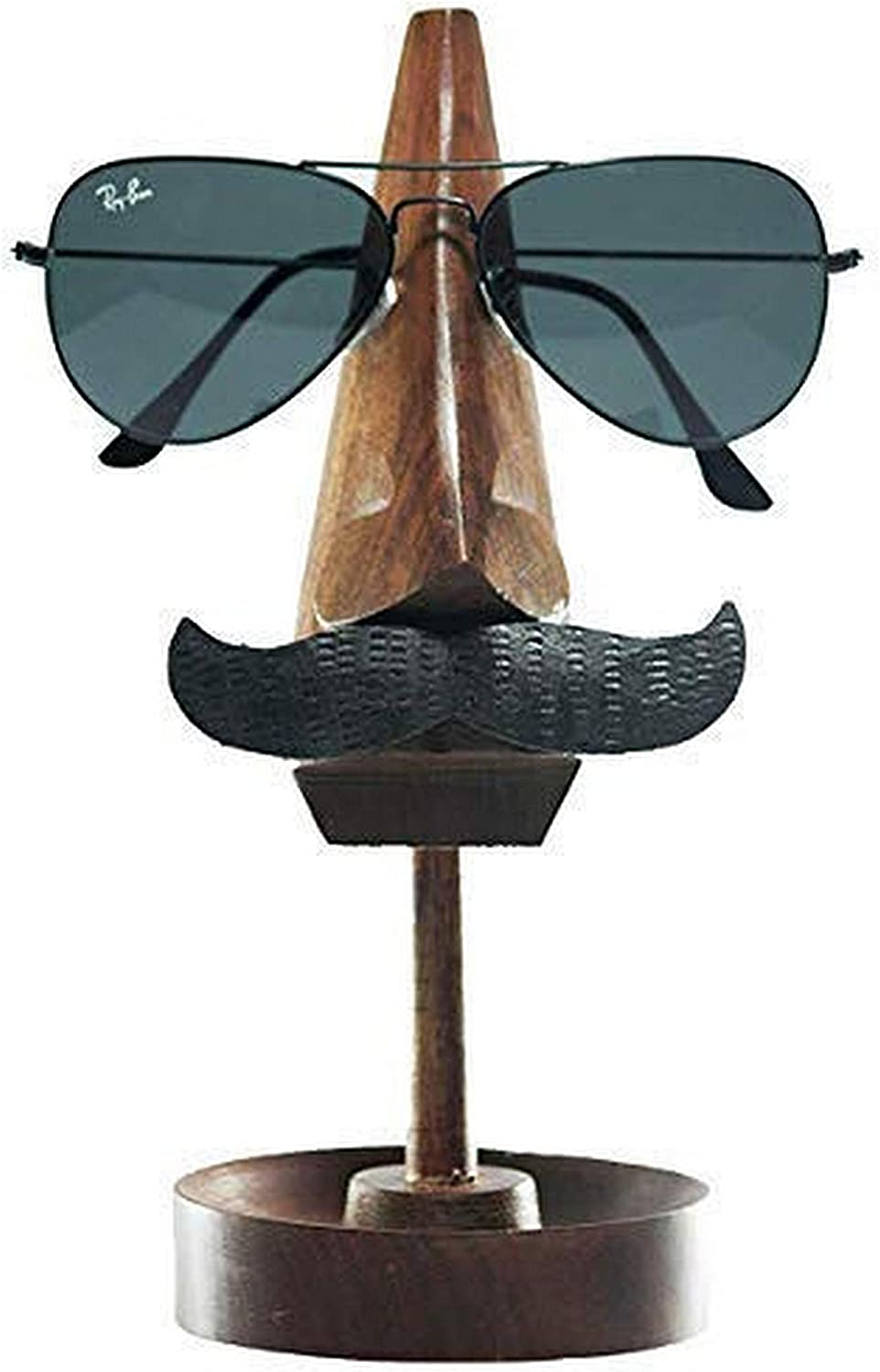 Handicrafzon Eyeglass Holder Home Decor Stand with Nose and Mustache Spectacle Holder Plus Multi Utility Wooden Trinket Holder Display Stand (Coffee Brown)