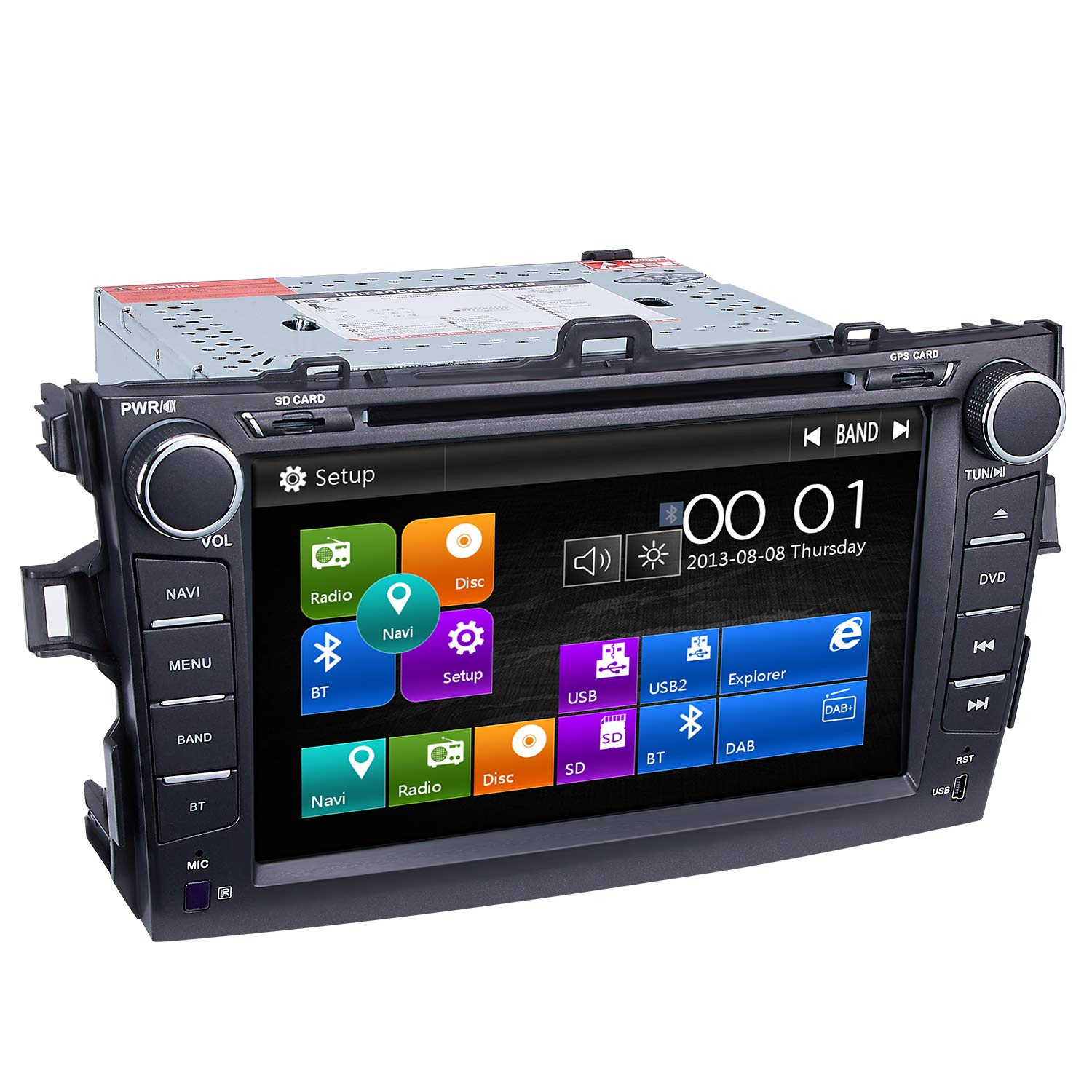 Corolla Car Stereo DVD Player-Double Din in-Dash, Multimedia Receiver with 8 Inches Touchscreen, Built-in Bluetooth, GPS Navi, USB Port, SD, AUX Input, Radio Receiver, Applicable Models: 2007-2011 (A) by Dagiton