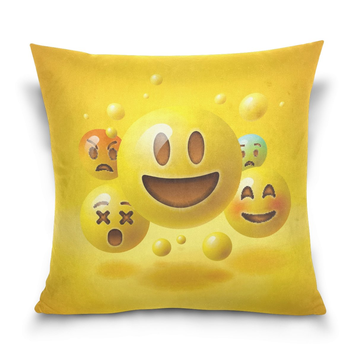 ALAZA Smiley Emoticons Emoji Cotton Pillowcase 20 X 20 Inches Twin Sides, Cute Cartoon Emoji Pillow Case Sham Cover Protector Decorative for Home Hotel Couch Ded