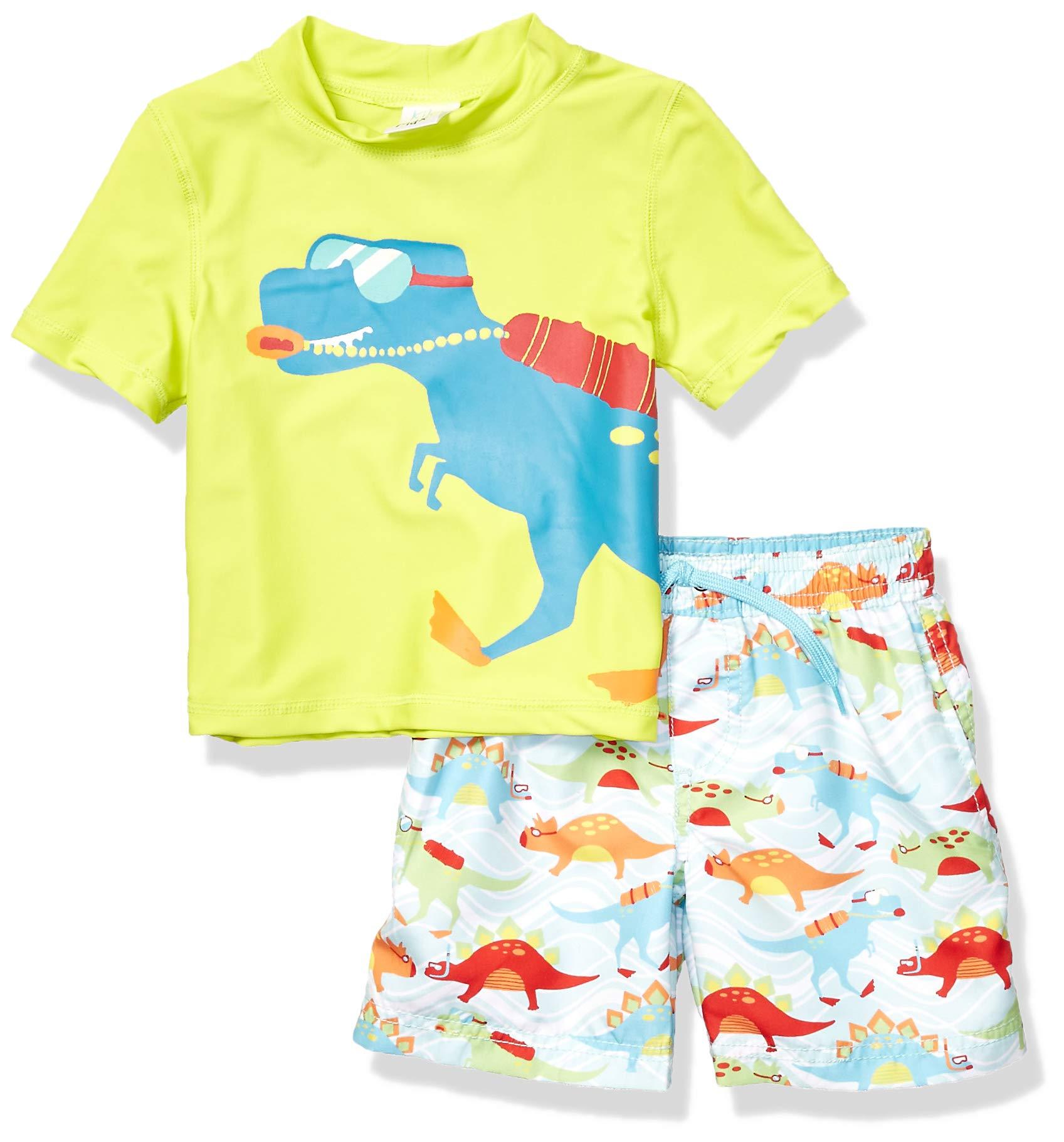 KIKO & MAX Toddler Boys' Swimsuit Set with Short Sleeve Rashguard Swim Shirt, Dinosaur Lifeguard Green, 2T