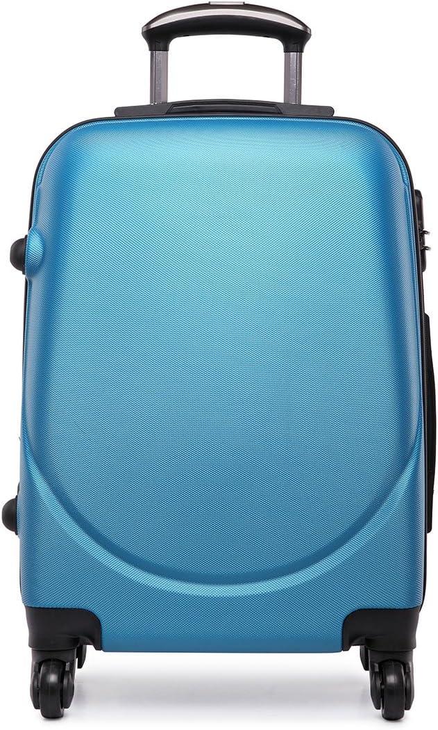Maleta pequeña para equipaje de cabina con 4ruedas y exterior rígido de plástico ABS, ligera, 50 cm aproximadamente, Multicolor