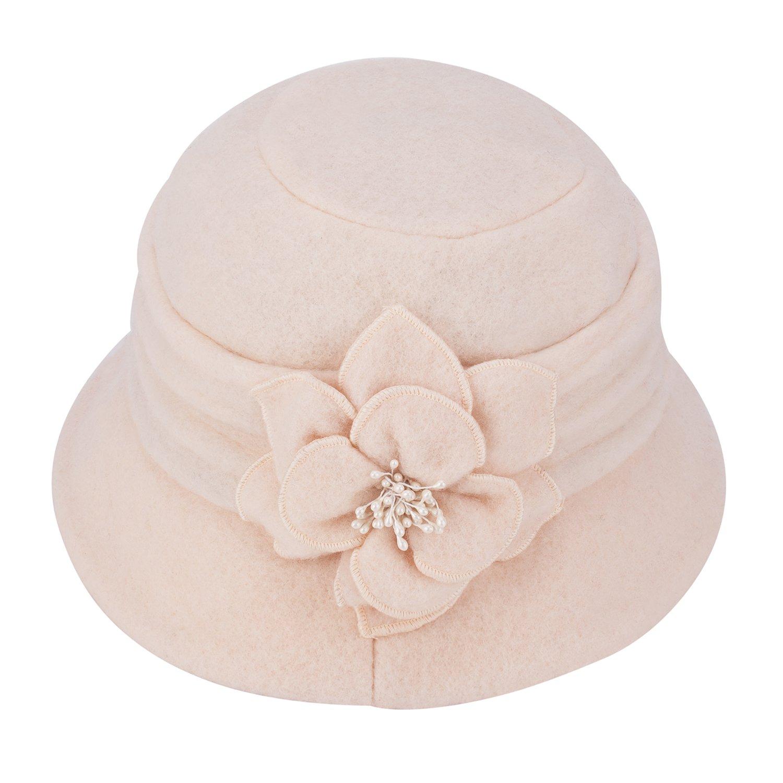 Womens Gatsby 1920s Winter Wool Cap Beret Beanie Cloche Bucket Hat A299 (Ivory)