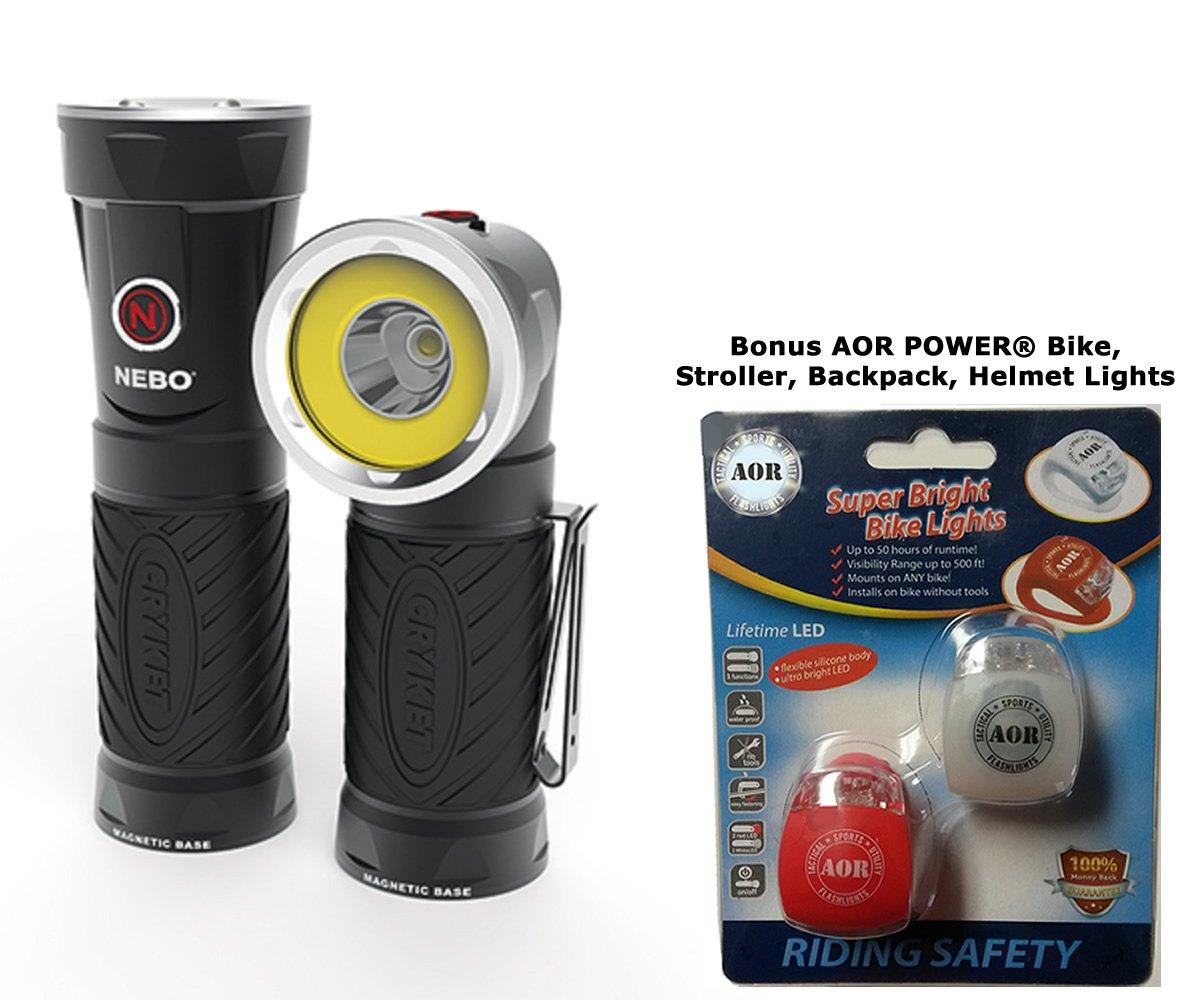 Nebo BIG Cryket 6666 LED 300 Lumen Work Light, Spot Light and Red LED. 9 Position Swivel Head. AOR6666 Bundle includes 3 AA Batteries, and AOR POWER Bike, Stroller, Backpack, Helmet Lights