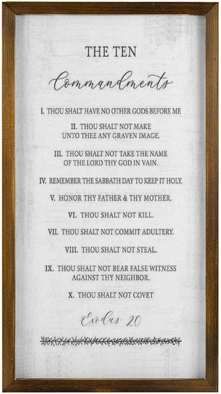 The Ten Commandments Sign & Plaque Decorative Rustic Wood Framed Sign Farmhouse Wall Decor, 8 x 12 Inch