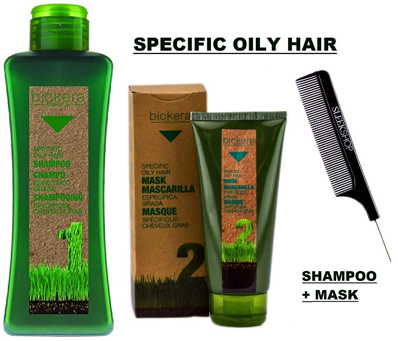 Salerm Biokera SPECIFIC OILY HAIR Shampoo & Conditioner Mask DUO SET, Regulates Oil Production, Excess Oiliness (W/Sleek Comb) Masque (1000 ml (36 oz) + 200 ml (6.9 oz) LARGE DUO KIT) by Salerm