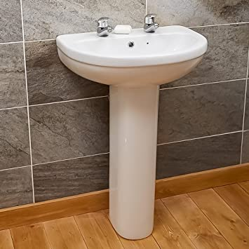 Full Pedestal Basin Bathroom Sink Small Compact Modern Designer