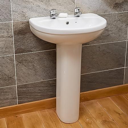 Full Pedestal Basin Bathroom Sink ; Small Compact Modern Designer Water  Hand Wash ; Ceramic White