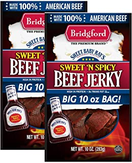 product image for Bridgford Sweet Baby Ray's Sweet 'N Spicy Beef Jerky, High Protein, Zero Trans Fat, Made With 100% American Beef, 10 Oz, Pack of 2