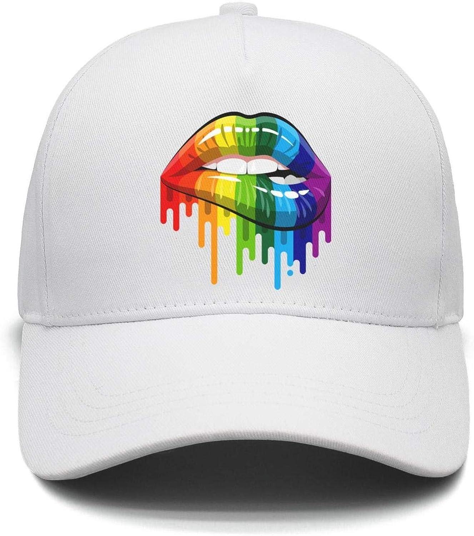 Gay Homosexual Lesbian Rainbow Lips Pride Trucker Cap Men//Women Best Snapback Cap