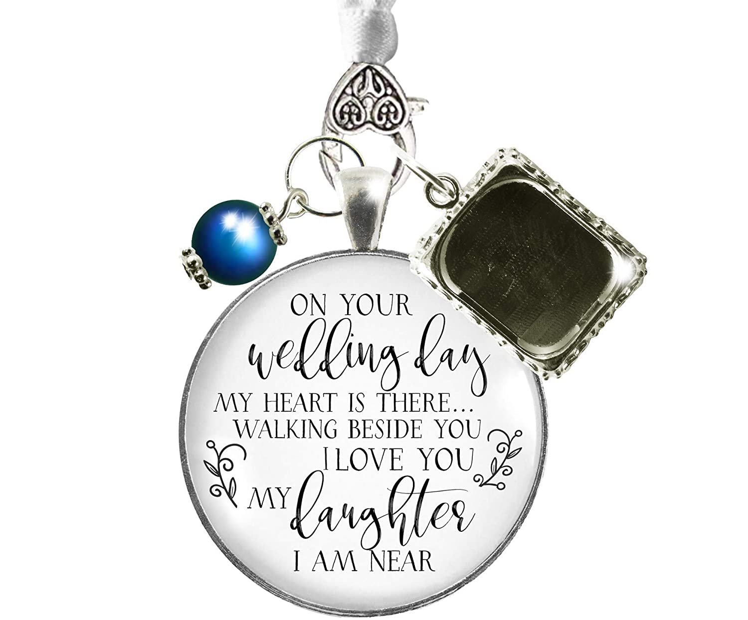 Bouquet Charm On Your Wedding Day Mom Dad White Silvertone Blue Memorial Photo Frame