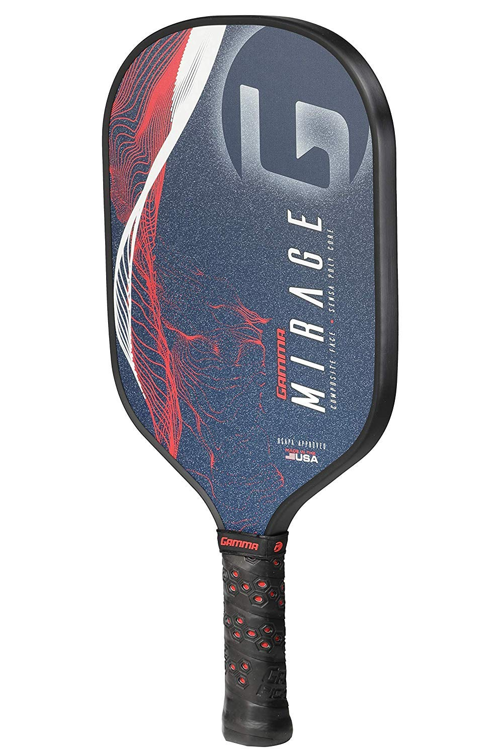 GAMMA Mirage Composite Pickleball Paddle: Pickle Ball Paddles for Indoor & Outdoor Play - USAPA Approved Racquet for Adults & Kids - Red/White/Blue by Gamma (Image #3)