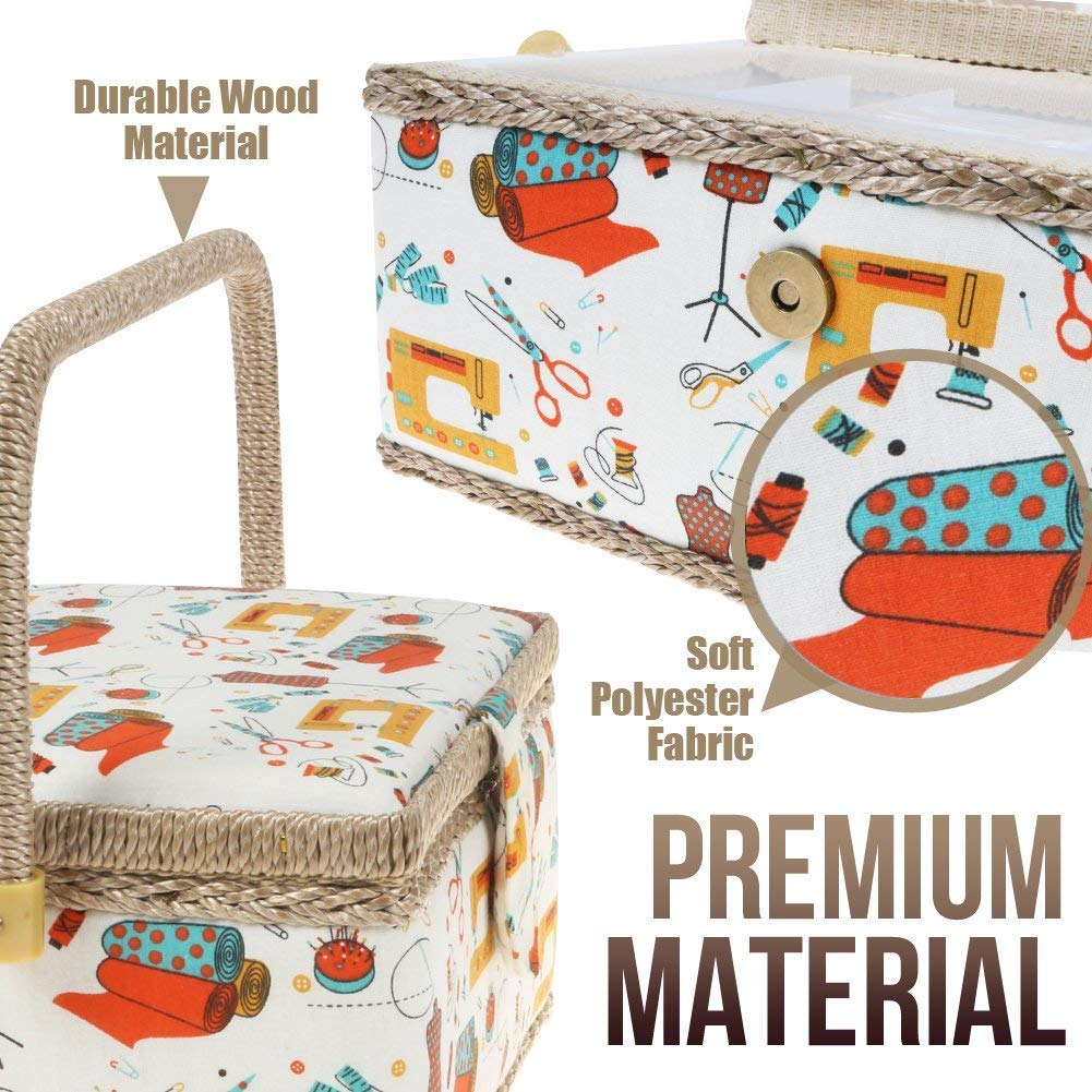 Medium Sewing Basket Organizer with Complete Sewing Kit Accessories Included SewKit 220.7 Wooden Sewing Basket Kit with Removable Tray and Tomato Pincushion for Sewing Mending Blue
