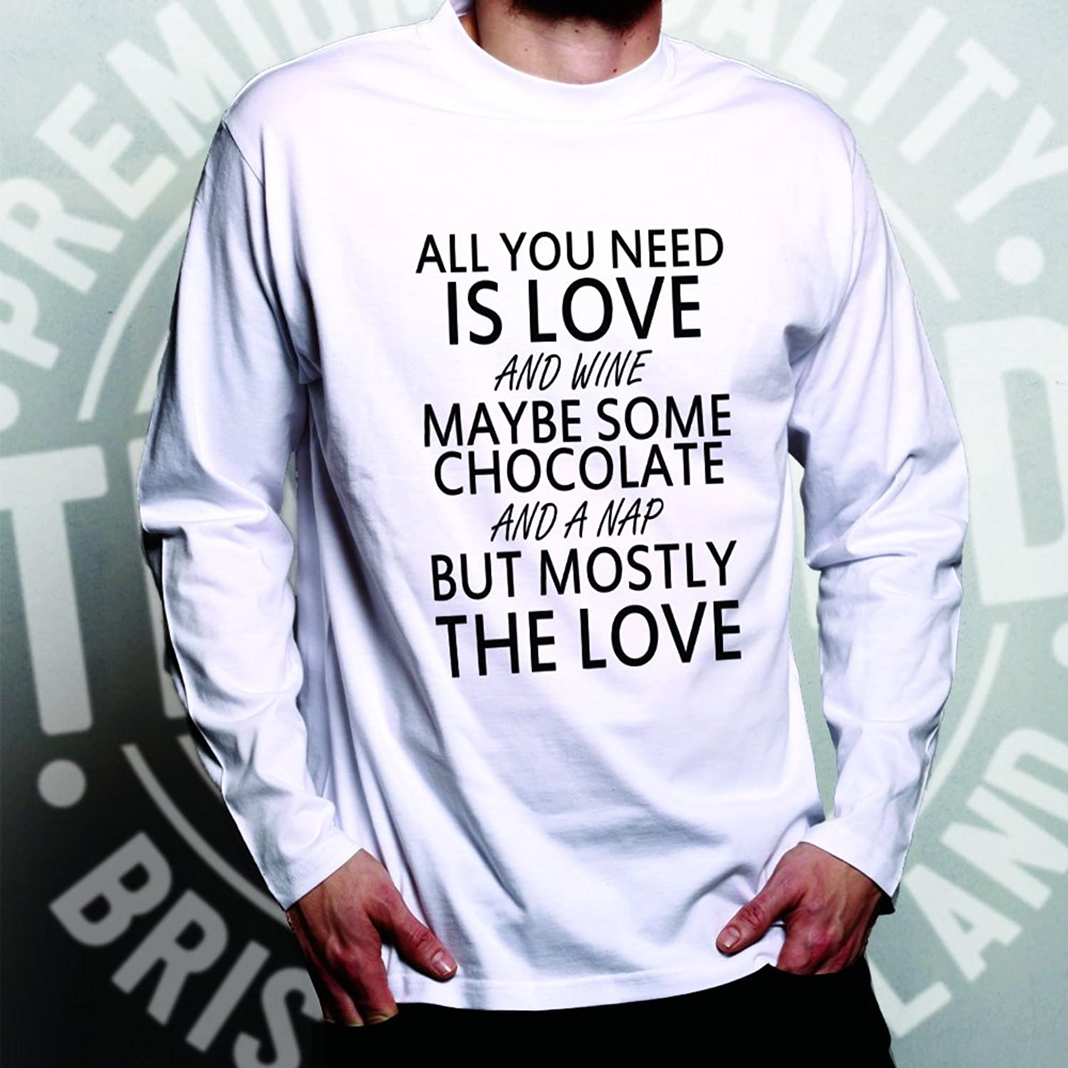Tim And Ted Need Is Love and Wine Maybe Some Chocolate and A Nap Love Wine  Chocolate Nap But Mostly The Funny Slogan Cool Alcoholic Relatable Long  Sleeve ...